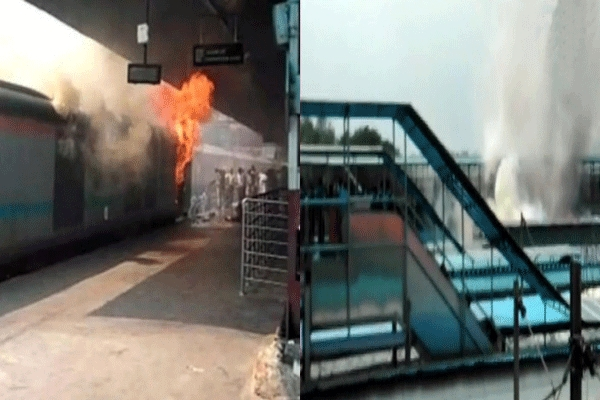 Fire breaks out in chandigarh kochuvalli express rear power car at new delhi station
