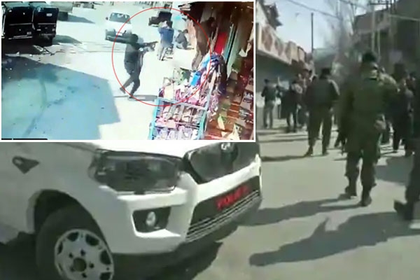 Unidentified people fire bullets at security forces in srinagar two policemen dead